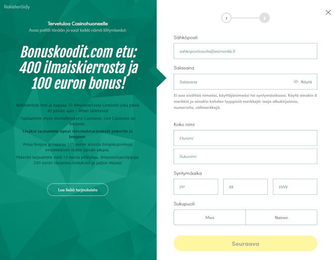 Casinohuone bonuskoodi rekisteröintilomake step 1
