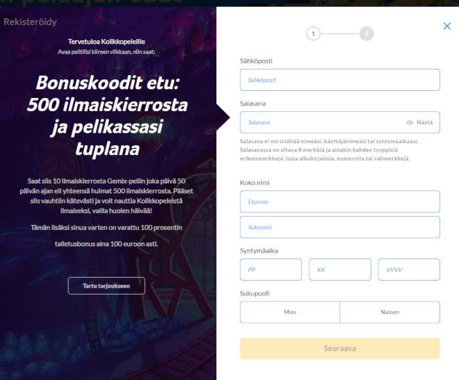 Kolikkopelit bonuskoodi rekisteröintilomake
