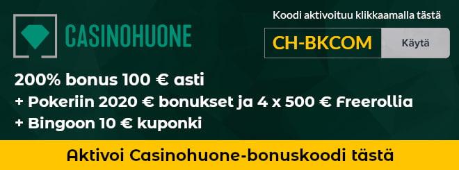 Casinohuone bonuskoodi CH-BKCOM uusille asiakkaille 450 ilmaiskierrosta ja paljon muita bonuksia