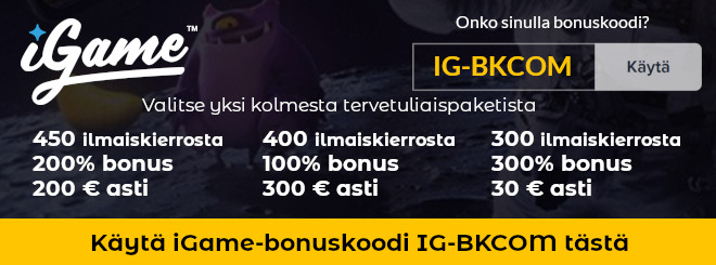 iGame bonuskoodi IG-BKCOM uusille asiakkaille 450 ilmaiskierrosta ja 1000 € talletusbonuksia