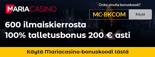 Maria Casino bonuskoodi MC-BKCOM uusille asiakkaille 600 ilmaiskierrosta ja 200 euron talletusbonus
