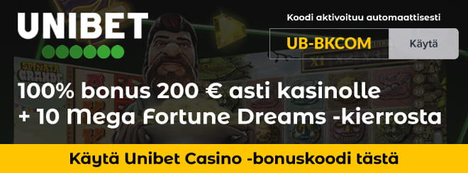 Unibet bonuskoodi kasinoon antaa 200% talletusbonuksen 100€ asti ja 10 ilmaiskierrosta.