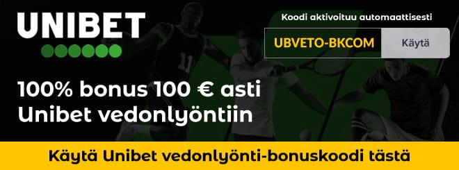 Unibet bonuskoodi vedonlyöntiin antaa 100% talletusbonuksen 100€ asti ja 10 euron riskittömän mobiilivedon