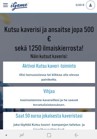 iGame kutsu kaveri kampanjalla voit tienata jopa 500 euroa