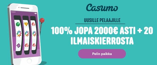 casumo casino tervetuliaistarjoukset uusille pelaajille