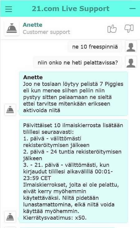 21.com asiakaspalvelu auttaa suomeksi
