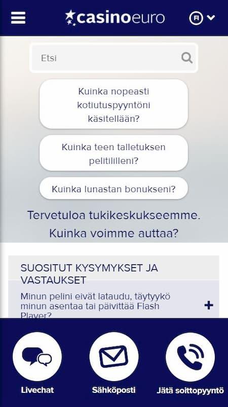 Casinoeuro asiakaspalvelu palvelee suomeksi