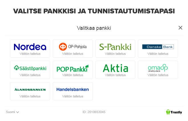 Ninja casino kotiutus ja talletukset tapahtuvat suomalaisilla verkkopankeilla