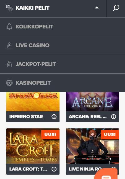 ninja casino pelit tarjoavat kaikille pelattavaa