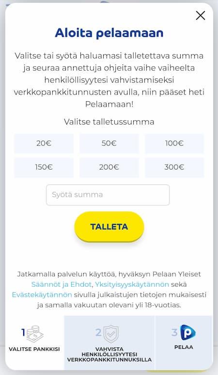 Pelaa.com talletus on helppoa