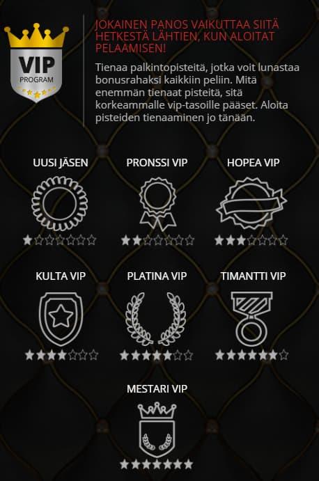 VIP-ohjelmassa on seitsemän eri tasoa