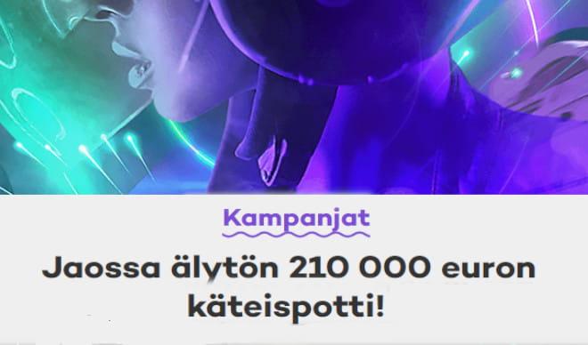 21.com nettikasino jakaa 210 000 euroa puhtaana käteen