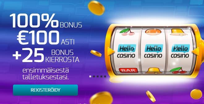 Hello Casino antaa 100% bonuksen 100 € asti ja 25 kierrosta ensitalletuksella
