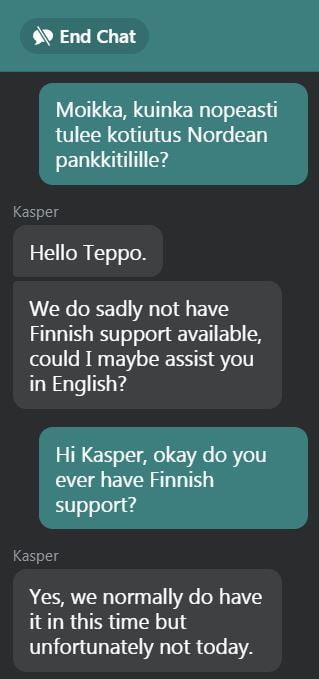 Voodoodreams asiaskaspalvelussa on normaalisti suomenkielinen palvelu