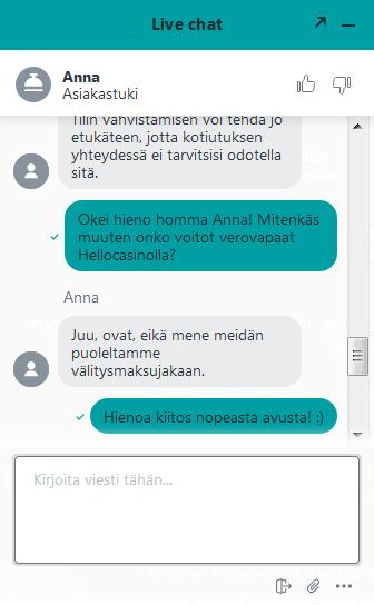 suomi asiakaspalvelu hellocasino.com sivustolla oli avulias