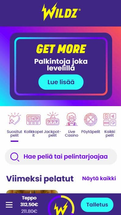 Mobiilissa Wildz toimii mainosti