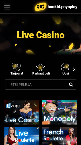 Zet Casinon mobiilinäkymä