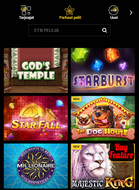 Esimerkki Zet Casinon tarjoamista kolikkopeleistä