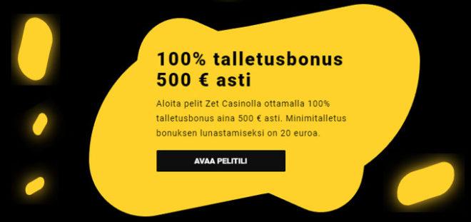 Zet Casino 100% talletusbonus tarjous