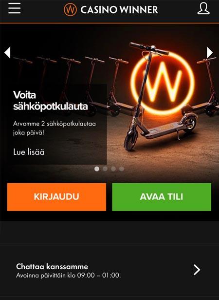 Casino winner mobiilinäkymä
