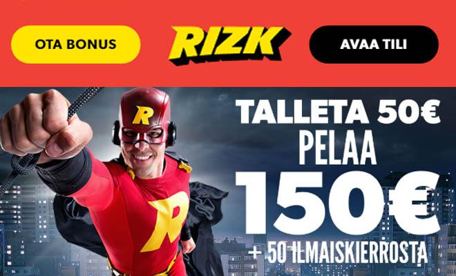 Rizk.com 200% ensitalletusbonus sekä 50 ilmaiskierrosta