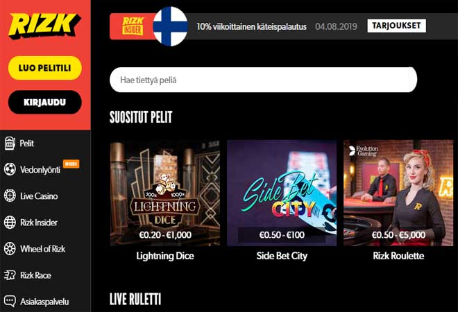 Rizk Casino tarjoaa myös live casino pelejä suomalaisille kasino pelaajille