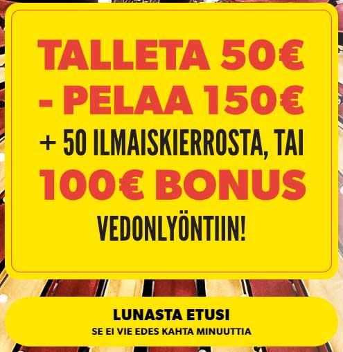 Rizk Casino bonus tarjoaa peräti 100 € bonuksen vedonlyöntiin