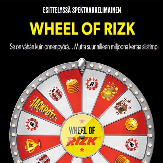 Pyöräyttämällä Wheel of Rizkiä voitat aina vähintään 10 kierrosta tai jopa tuhat euroa käteistä