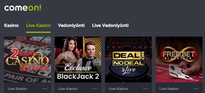 Comeon tarjoaa myös live casino pelejä