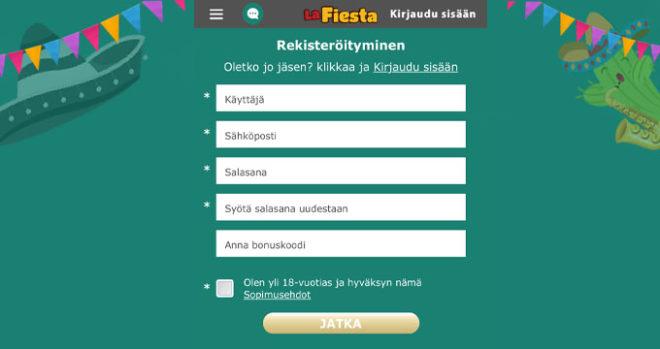 La Fiesta casinolla voit lunastaa 12 euroa ilmaiseksi
