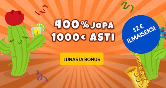 La Fiesta 400% bonus ja 12 € ilmaiseksi uusille asiakkaille