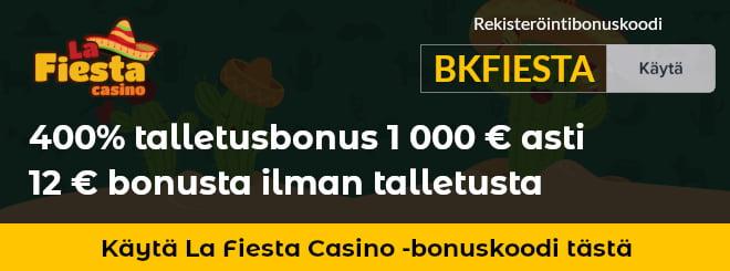 La Fiesta Casino bonuskoodilla saat normaalia enemmän bonuksia esimerkiksi 12 € ilman talletusta