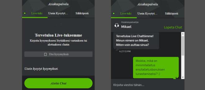 Mobilebet asiakaspalvelun live chat esimerkki