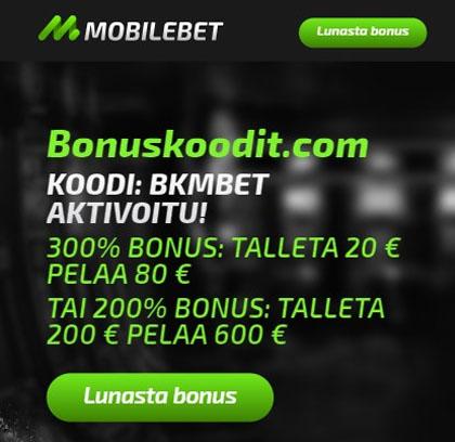 Mobilebet bonuskoodi aktivoitu
