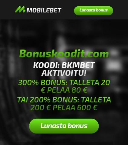 Mobilebet bonuskoodin aktivointi