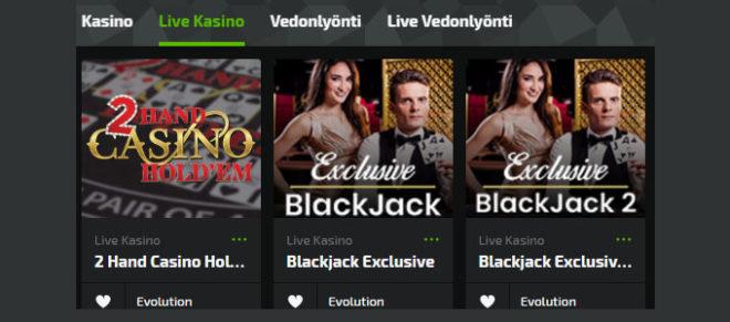 Mobilebet live casino pelivalikoima