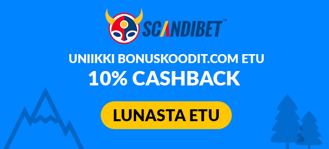 Scandibet tarjoaa uniikin edun bonuskoodit.com lukijoille nimittäin 10% käteispalautuksen