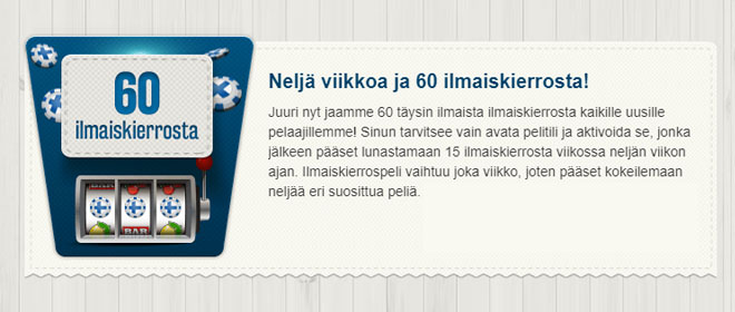 Suomiautomaatti ilmaiskierrokset ilman talletusta