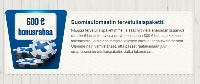 Suomiautomaatti talletusbonukset