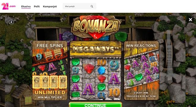 21.com arpoo palkintoja bonanza pelissä