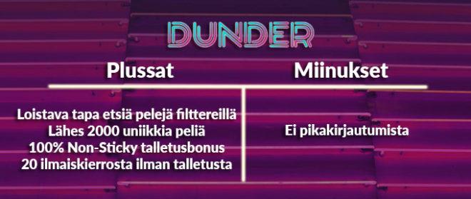 Dunder casino plussat ja miinukset yhteenvetona
