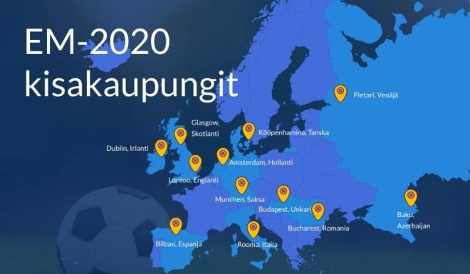 EM 2020 kisat järjestetään 12 eri valtiossa