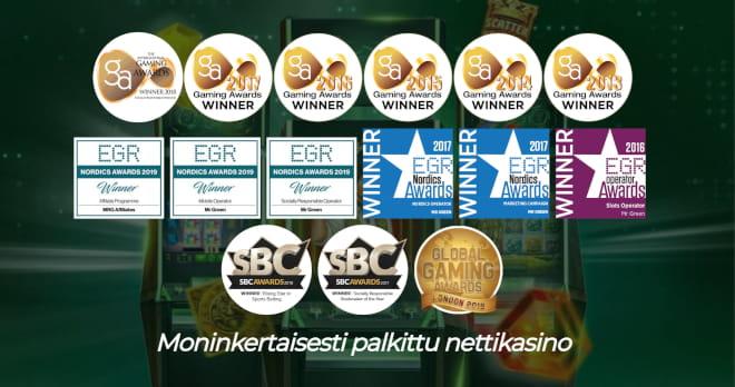 MR Green on saanut lukuisia palkintoja kuten parhaan nettikasinon palkinnon