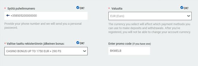 Melbet bonuskoodin syöttäminen rekisteröinti valikossa