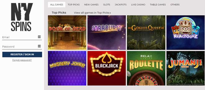 NYSpins kasinolla on satoja peleitä joita voit pelata