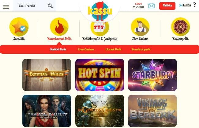 Kassu nettikasinon pelivalikoima on selkeä ja toimii mobiilissa mainiosti