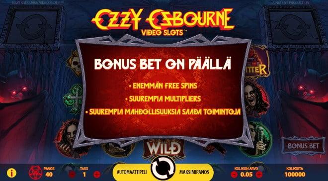 Bonus Bet toiminto Netentin Ozzy Osbourne kolikkopelissä kannattaa laittaa päälle