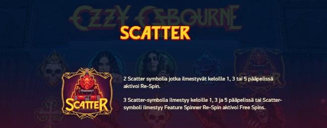 Ozzy Osbourne pelin ohjeet osa 5 Scatter symboli