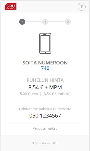 Siru mobile maksu vaihe 1