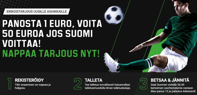 Suomen voitolle 50.00 kerroin
